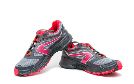 sport wear: Red running Shoe isolated on white background.