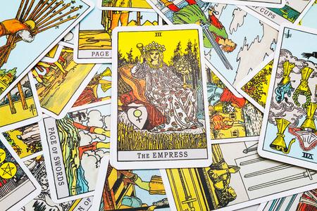 Tarot cards Tarot, the empress  card in the foreground.