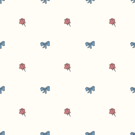 bowtie: Seamless pattern bowtie and roses in pastel colours.Vector illustration.