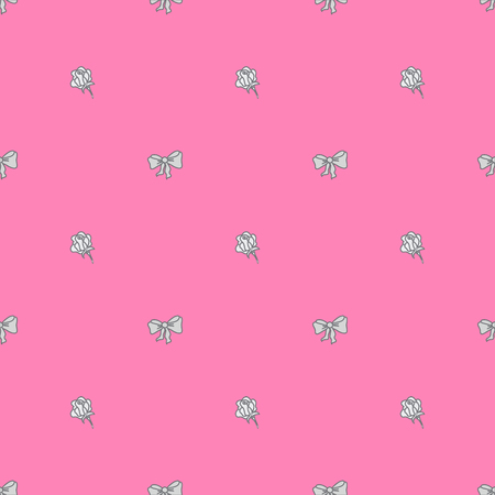 glaring: Seamless pattern bowtie and roses in pastel colours.Vector illustration.