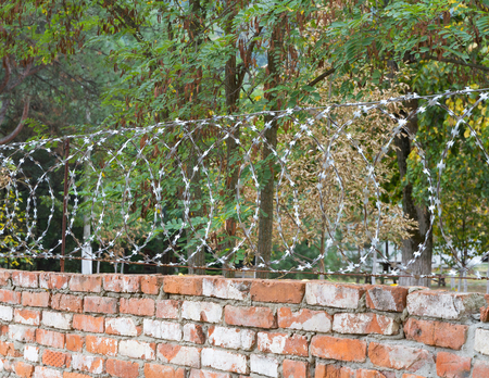 prison yard: Old brick wall with barbed wire guarded territory
