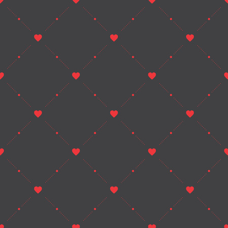 facing: Seamless geometric pattern with hearts. Vector texture, background.
