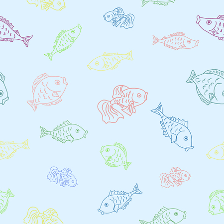 seafood background: Hand drawn fishes . Vector seamless pattern with fishes. Illustration