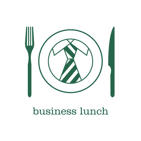 dinner plate: Logo, icon business lunch. Striped tie in a circle.
