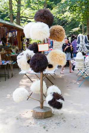 papakha: Maykop, Russia - 26 September 2015: National Caucasian fur hat at the festival in Maikop.District. Adygea.