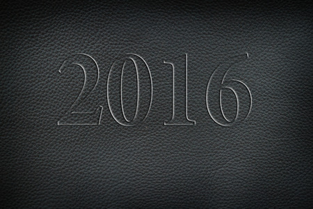 old leather: Texture of old crumpled black leather. New year 2016 Stock Photo