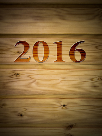 drawing room: Wooden Board with drawing room 2016 under the tree, texture background. New year 2016.
