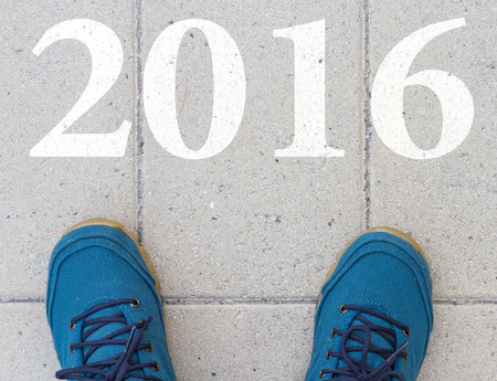 top year: Start to new year 2016  top view of  man walking on the road