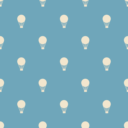 blue and white: Seamless Background with hot air balloons retro, vintage. Stock Photo