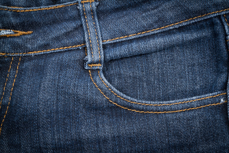 traditional clothing: Jeans  texture background close up. Left pocket. Stock Photo