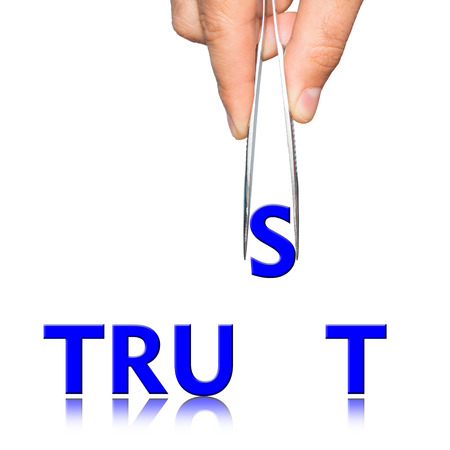 tweezers: Hand with tweezers and word Trust  on background