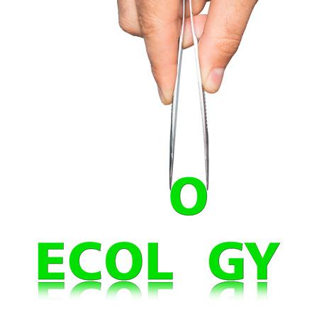 pinzas: Mano con las pinzas y la ecología palabra, concepto