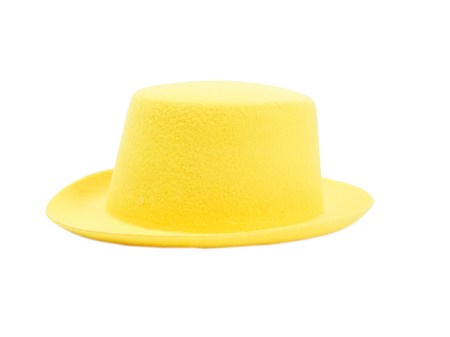 irish easter: Bright yellow hat with a brim  isolated on white background.
