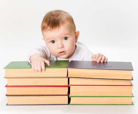 early childhood education: Baby and Books, Kids Early Childhood Education Development, Smart Child Preschool Reading Concept, over White Background