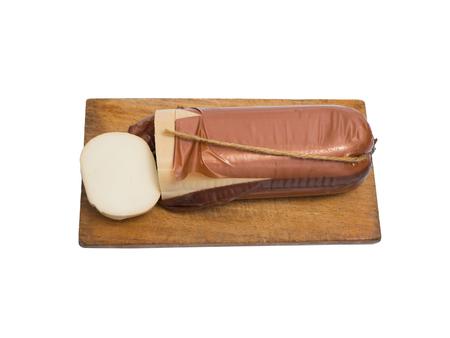 oscypek: Traditional smoked cheese isolated on white background