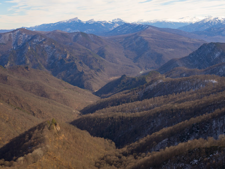 snows: Caucasus mountains on a winter day. Snow-capped peaks Stock Photo