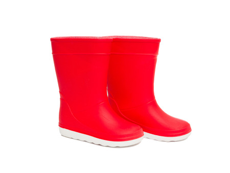 wellie: Red  rainboots isolated on white background. Rubber boots for kids.