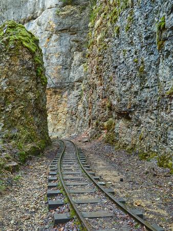narrow gauge: Narrow gauge railroad in mountains of North Caucasus. GUAMA gorge.