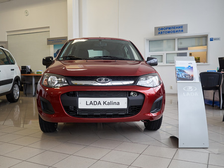 russian car: TOLYATTI RUSSIA - MART 6 2016: Car centre Lada. New Russian Car Lada Kalina. Editorial