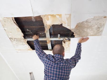 Man repairing collapsed ceiling. Ceiling panels damaged Foto de archivo