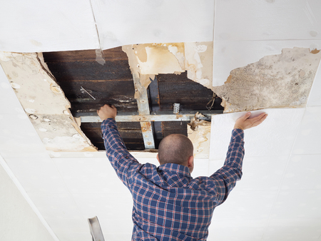 dirty room: Man repairing collapsed ceiling. Ceiling panels damaged Stock Photo