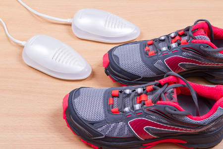 ultraviolet: Electric ultraviolet shoe dryer and Sneakers. isolated on wooden background.