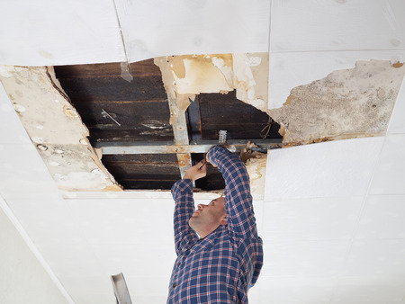 damaged roof: Man repairing collapsed ceiling. Ceiling panels damaged  huge hole in roof from rainwater leakage.Water damaged ceiling .