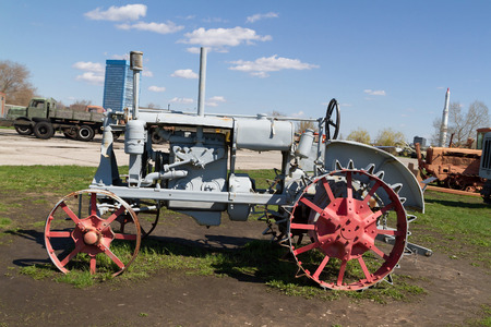 traction engine: Vintage Tractor.Old Soviet tractor with metal wheels. Stock Photo