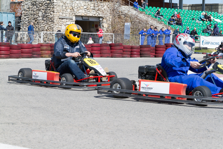kart: Tolyatti, RUSSIA - April 24, 2016: Young pilots compete at the kart. Competitions karting.