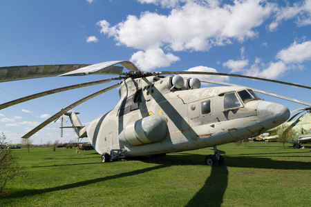 military helicopter: Tolyatti, RUSSIA - April 24, 2016: Old Soviet military helicopter.