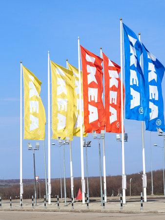 ikea: SAMARA, RUSSIA - APRIL  15, 2016: Flags IKEA Samara Store. IKEA is the worlds largest furniture retailer Editorial