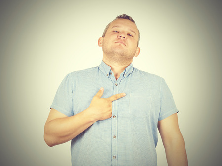 Fat man arrogant bold self important stuck. Isolated on background. Stock Photo - 57036695