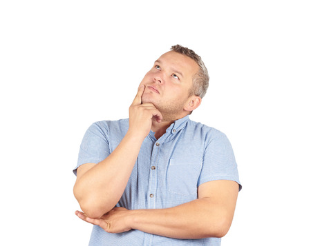 Fat man  chin on hand thinking daydreaming, staring thoughtfully upwards,Isolated on white background. Banco de Imagens