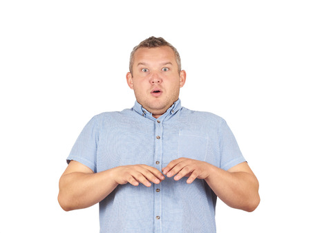 awkward: Fat man  feels awkward, anxiously  Isolated on white background.