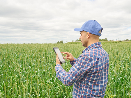 Farmer in a plaid shirt controlled his field and looking at tablet