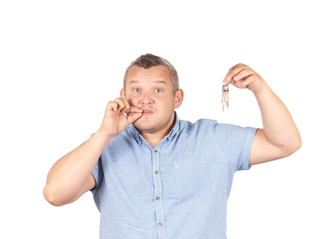 shushing: Fat Man with mouth shut holding a keys Isolated on white background.