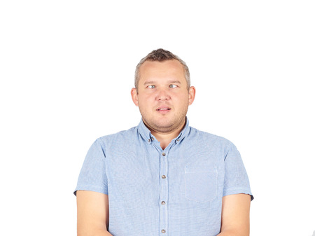 contortion: Cross-eyed man, funny faces.Isolated on white background.