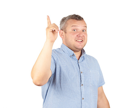 Portrait of a man came up with the idea and holding thumbs up. Solution. facial expression, body language, creativity Isolated on white background. Stockfoto