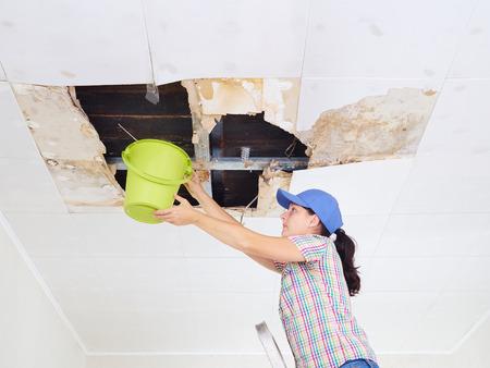 Jonge Vrouw Het verzamelen van Water In Emmer van het plafond. Plafondpanelen beschadigd enorm gat in het dak van regenwater leakage.Water beschadigd plafond. Stockfoto - 66447462