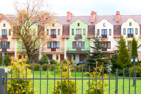 Colorful houses facades, pastel pale colors in Europe.                             Banque d'images
