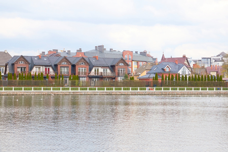 Scenic view of Kaliningrad. City landscape, the upper lake with beautiful houses.