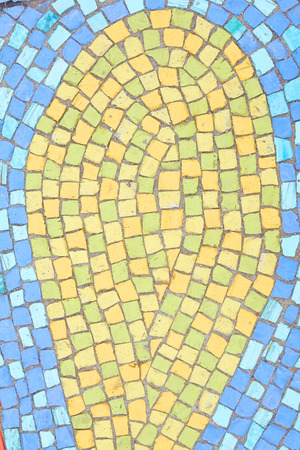 Beautiful background of multi-colored tiles. Tiled mosaic in pastel colors. Blue yellow Stockfoto