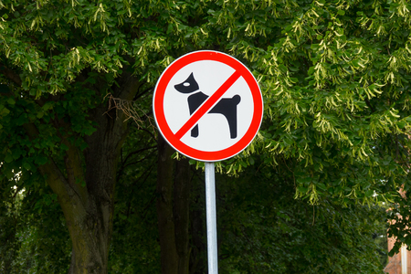 Dogs not permitted in area sign. Plate on post in city park -  no dogs allowed.
