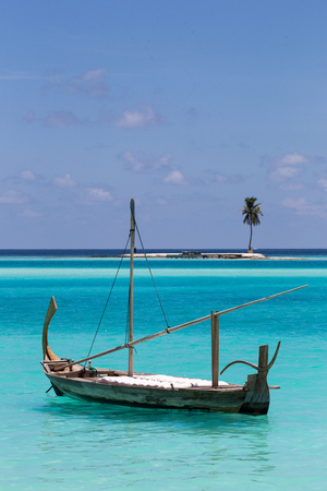 Boat and Island, Maldives