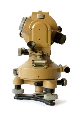 old theodolite isolated on background