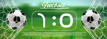 Soccer or Football 3d Ball in the Net on green background Illustration