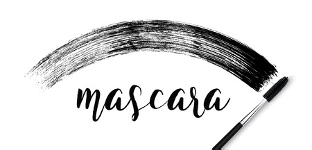 make-up cosmetic mascara brush stroke on white.