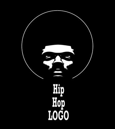 Afro Hip Hop Logo. Vector black man silhouette with hair.