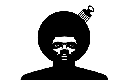 Afro Logo. Vector black man silhouette with hair.