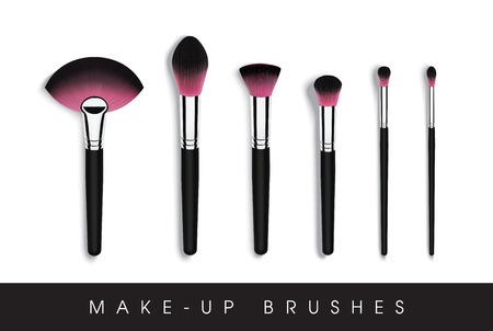 set of makeup cosmetic brushes Illustration